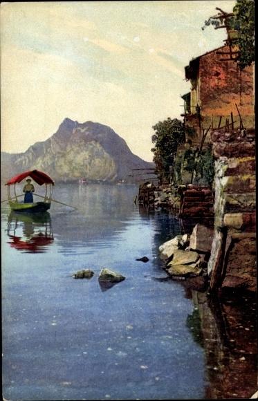 Ak Gandria Lago di Lugano Kt. Tessin Schweiz, Monte San Salvatore