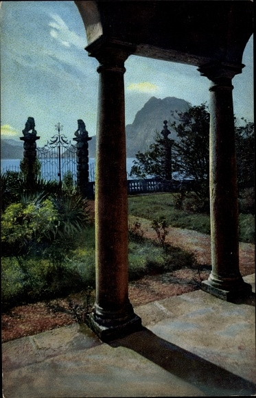 Ak Castagnola Cassarate Lugano Kt. Tessin, Villa Favorita e Monte San Salvatore