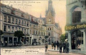 Ak Erfurt in Thüringen, Anger mit Hauptpost, G. Krüger, Schwanapotheke