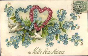 Präge Litho Glückwunsch, Mille bons baisers, Tauben im Flug, Herzen aus Vergissmeinnicht und Rosen