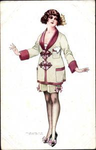 Künstler Ak Pepin, Maurice, Junge Frau, Srümpfe, Kleid
