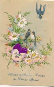 Zelluloid Ak Glückwunsch Neujahr, applizierte Schwalben, Stoffblüte, Blüten