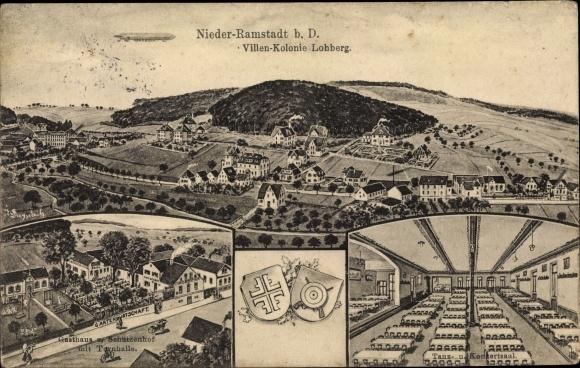 Wappen Ak Nieder Ramstadt Mühltal im Odenwald Hessen, Villenkolonie Lohberg, Gasthaus mit Turnhalle