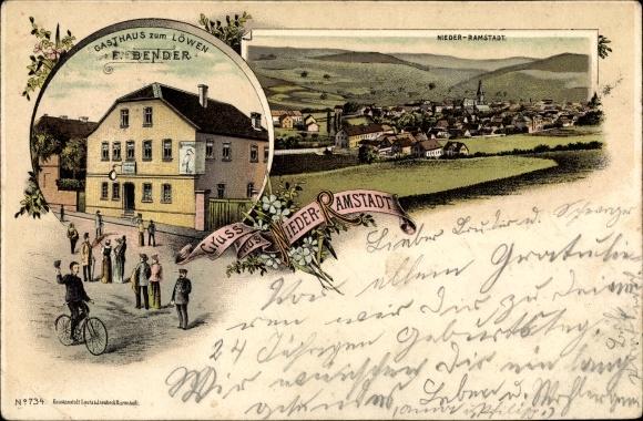 Litho Nieder Ramstadt Mühltal im Odenwald Hessen, Gasthaus zum Löwen