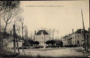 Ak Migennes Laroche Yonne, La Mairie et les Ecoles, Rathaus, Schulen
