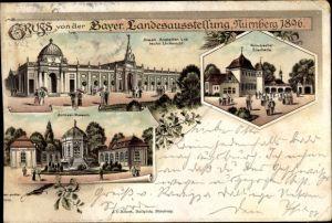 Litho Nürnberg, Bayer. Landesausstellung 1896, Armee Museum, Staatliche Anstalten, Bierhalle