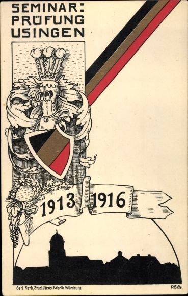 Studentika Ak Usingen im Taunus Hessen, Seminarprüfung 1916