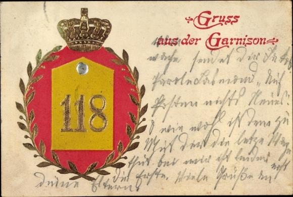 Präge Ak Worms in Rheinland Pfalz, Garnison 118, Krone, Kranz