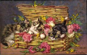 Künstler Ak Merlin, D., Katzen in einem Korb, Blumen