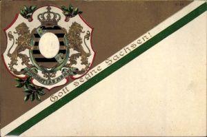Präge Wappen Litho König Friedrich August III. von Sachsen, Gott segne Sachsen