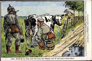 Künstler Ak Zille, Heinrich, Vadding in Frankreich, Ulk, Berliner Tageblatt, Nr. 9, Soldat melkt Kuh