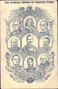 Künstler Ak 200. Jubiläum des Königreichs Preußen 1701 - 1901, Suum cuique, Kaiser Wilhelm II.,