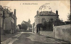 Ak Saint Martin d'Ordon Yonne, L'Eglise, Kirche, Häuser