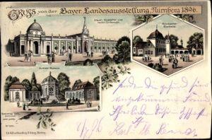 Litho Nürnberg, Bayer. Landesausstellung 1896, Armee Museum, Staatl. Anstalten, Bierhalle