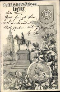 Künstler Ak Erfurt, Kaiser Wilhelm I. Denkmal, Kaiser Wilhelm II., Portrait, Wappen, Kirche
