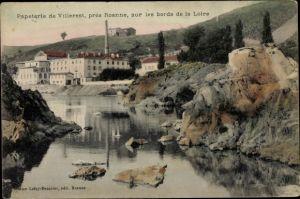 Ak Villerest pres Roanne Loire, Papeterie sur les bords de la Loire