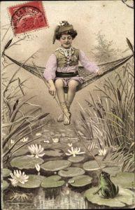 Ak Frosch auf Seepflanze, Seerosen, Junge in Hängematte, Streich