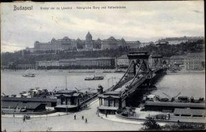 Ak Budapest Ungarn, Königliche Burg und Kettenbrücke