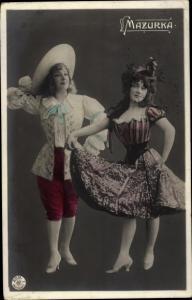 Ak Zwei Damen im Tanzkostüm, Mazurka