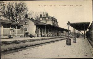 Ak Tessonnieres Tarn, La Gare, le Quai de Gare