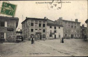 Ak Saint Genest Malifaux Loire, Place et Hotel Geoffroy, Cafe Matoulin
