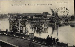 Ak Chalon sur Saône Saône et Loire, Pont en construction sur la Saône