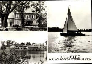 Ak Teupitz in Brandenburg, Segelboot, Rathaus, Teilansicht des Ortes