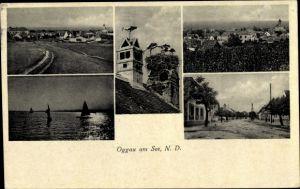 Ak Oggau am Neusiedler See im Burgenland, Storchennest, Panorama vom Ort, Segelboote auf dem See