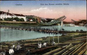 Ak Hrodna Grodno Weißrussland, Von den Russen zerstörte Brücke