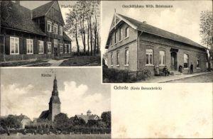 Ak Gehrde in Niedersachsen, Pfarrhaus, Kirche, Geschäftshaus Wilh. Brinkmann