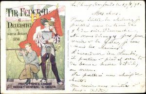 Künstler Ak Neuchâtel Neuenburg Stadt, Tir Federal 1898, Bundesschießen, Schütze