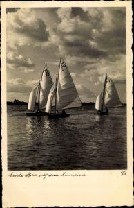 Ak Frische Brise auf dem Ammersee, Segelboote, Segeln