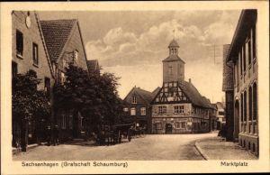 Ak Sachsenhagen in Niedersachsen, Partie am Marktplatz
