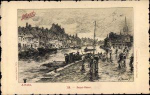 Künstler Ak Saint Omer Pas de Calais, Kanalszene, Maggi Reklame