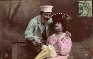 Ak Frau mit Sonnenschirm auf einer Bank, Geliebter, NPG 597/2