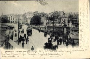 Ak Lausanne Kt. Waadt Schweiz, Le Grand Pont, tramway, caleche