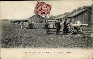Ak Versailles Yvelines, Camp de Satory, Manoeuvre d'Artillerie, canon