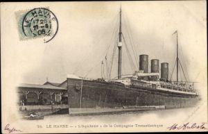 Ak Le Havre, Paquebot l'Aquitaine, CGT, French Line