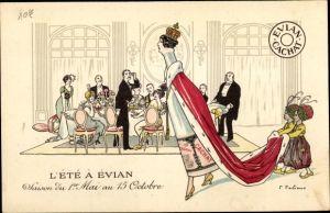Künstler Ak L'Ete a Evian, Saison du 1er Mai au 15 Octobre, Evian Cachat, Mineralwasser