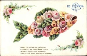 Ak 1. April, Fisch aus Rosen, Gedicht