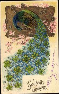 Präge Litho Pfau, Schwanz aus Vergissmeinnicht und Kleeblättern