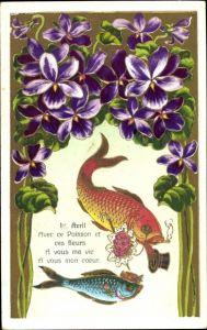 Präge Ak 1. April, Fische mit Rosenstrauß, Zigarette, Zylinder, Veilchen