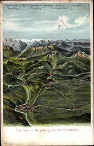 Landkarten Ak Felle, Eugen, Traunstein in Oberbayern, Blick aus der Vogelschau