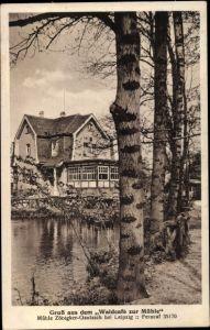 Ak Zöbigker Gautzsch Markkleeberg in Sachsen, Waldcafé zur Mühle, Uferpartie