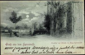 Mondschein Ak Burg im Spreewald, Gasthof zur Bleiche, Hund