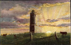 Künstler Ak Brocken Nationalpark Harz,  Sonnenaufgang auf dem Brocken, Turm