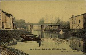 Ak Coulon Deux Sèvres, Le Pont, barques