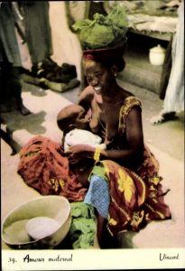 Ak Amour maternel, Mutter gibt ihrem Kind die Brust