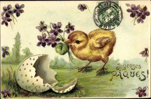 Präge Litho Glückwunsch Ostern, Küken, Veilchen Strauß, Osterei, Schlüpfen
