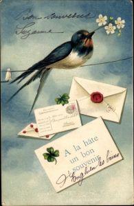 Präge Litho Schwalbe mit Blume auf Leine, Brief mit Kleeblättern